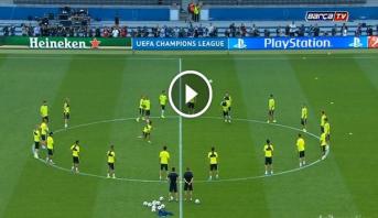 فيديو .. برشلونة ينهي آخر تداربيه على أرضية الملعب الأولمبي ببرلين