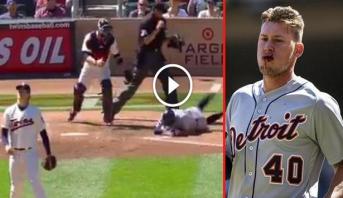 """فيديو .. كرة """"بيسبول"""" بسرعة 144 كلم في الساعة تصيب وجه لاعب بشكل مباشر"""