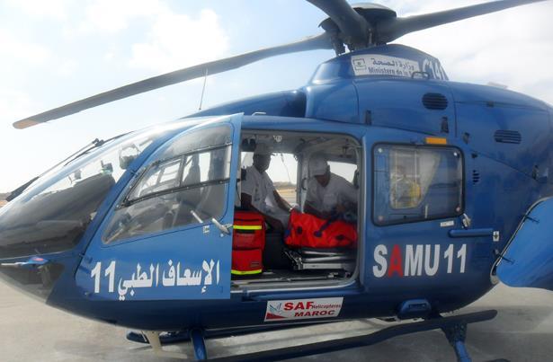 نقل شاب في حالة صحية حرجة بواسطة المروحية الطبية من العيون إلى مراكش