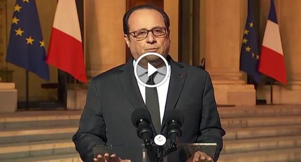 """فيديو .. هولاند يعتبر أن هناك """"خيوطا إرهابية"""" وراء اعتداء باريس"""