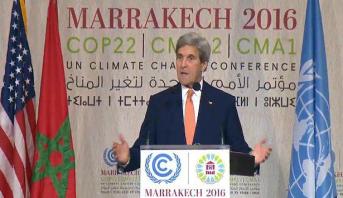 """كوب22 .. كيري يعلق على التكهنات بخصوص موقف ترامب من """"التغير المناخي"""""""