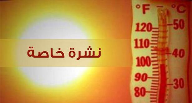 نشرة خاصة: استمرار موجة الحرارة من اليوم السبت إلى غاية الثلاثاء المقبل بالعديد من مناطق المملكة
