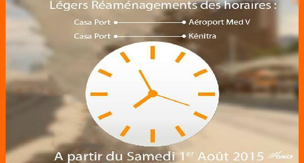 ONCF: légers réaménagements des horaires à partir du 1er août 2015