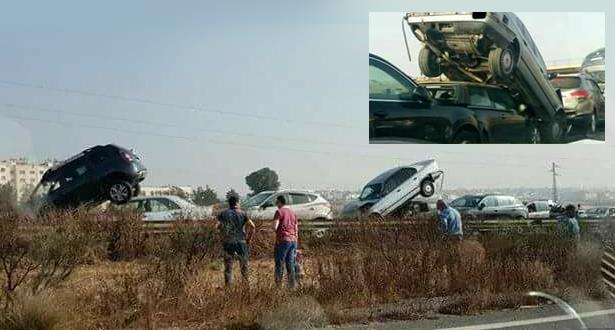حادث سير خطير على الطريق السيار الرباط البيضاء بعد اصطدام جماعي لعدة سيارات