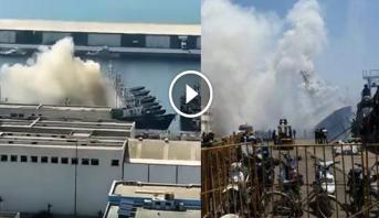فيديو .. النيران تلتهم قارب صيد بميناء أكادير