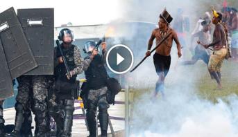 فيديو.. سكان البرازيل الأصليين يواجهون الشرطة بالسهام والرماح والسيوف