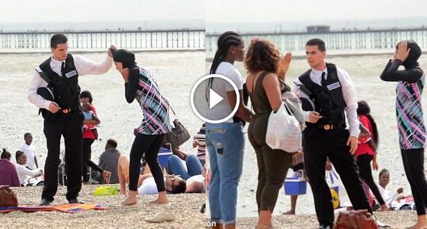 """فيديو تجربة اجتماعية .. رد فعل بريطانين عند مشاهدة شرطي يمنع مسلمة من ارتداء """"بوركيني"""" بالقوة"""