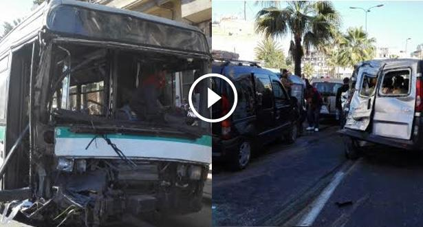فيديو و صور .. جرحى وإصابات في حادثة سير خطيرة وسط الدار البيضاء