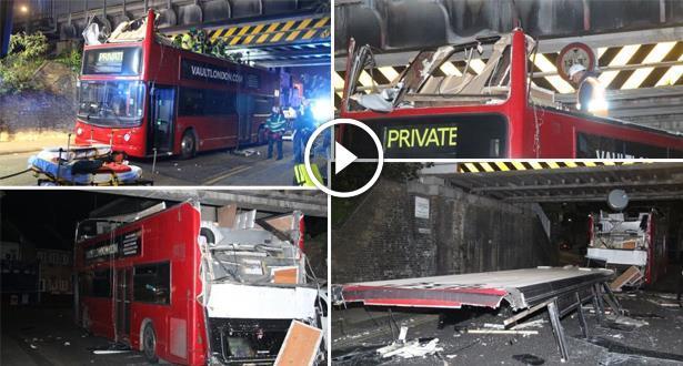 فيديو .. اصطدام حافلة من طابقين بجسر في لندن وإصابة 26 شخصا