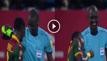 فيديو .. لقطة طريفة من حكم مباراة غانا والكاميرون