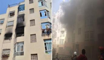 صور .. اندلاع حريق في منزل بسبب شاحن هاتف بالدار البيضاء