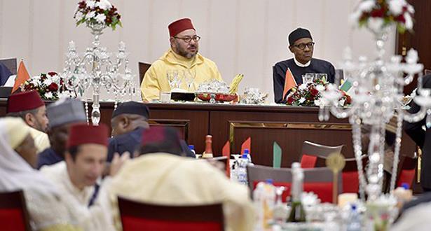 الرئيس النيجيري يقيم مأدبة عشاء رسمية على شرف الملك محمد السادس