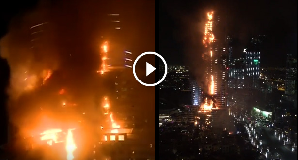 Vidéo .. Enorme incendie dans un hôtel de Dubaï avant les célébrations du Nouvel An