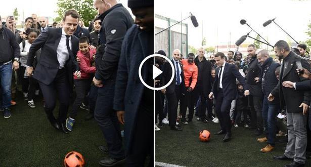 Vidéo: Quand Macron prend part à un match de foot improvisé
