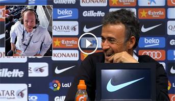 فيديو طريف .. مدرب برشلونة يوقظ صحافيا نام أثناء ندوة صحافية