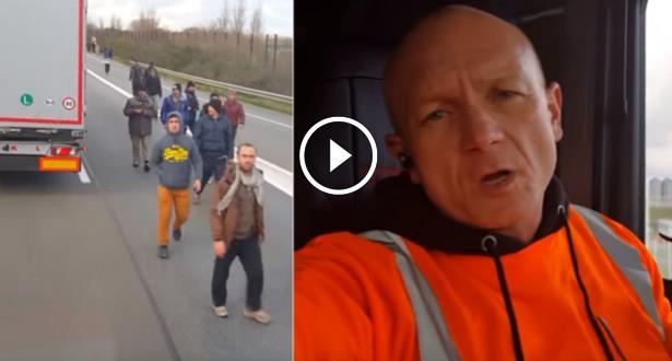 فيديو .. سائق هنغاري يحاول دهس مجموعة من اللاجئين بشاحنته