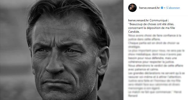 Hervé Renard sort de son silence dans l'affaire de sa fille Candide