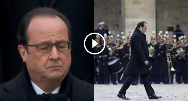 فيديو .. الرئيس الفرنسي متأثرا في مراسيم حزينة لتأبين ضحايا هجمات باريس