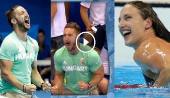 فيديو طريف .. زوج سباحة هنغارية يفقد أعصابه أثناء مشاركة زوجته في الأولمبياد