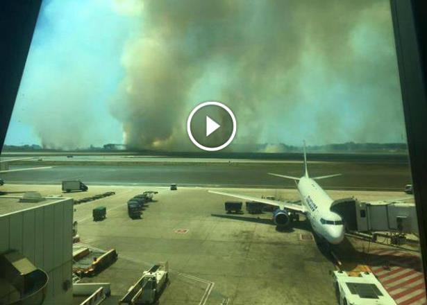 Vidéo: incendie à proximité de l'aéroport de Rome-Fiumucino, trafic suspendu