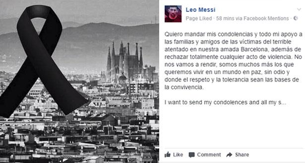 ميسي يعبر عن تضامنه مع ضحايا هجوم برشلونة الإرهابي