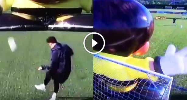 فيديو .. ميسي يتحدى دمية عملاقة والنتيجة مبهرة !