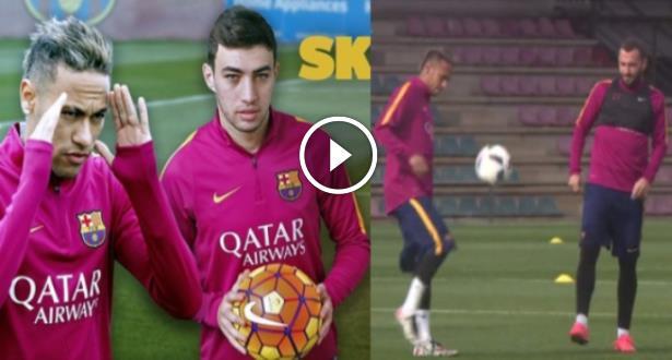 "Vidéo: Munir El Haddadi et Neymar se lancent un défi ""jonglage"""