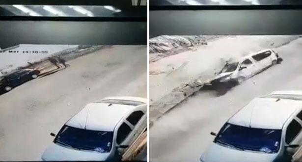 كاميرا مراقبة ترصد لحظة انهيار جزئي لسور مصنع بالدار البيضاء