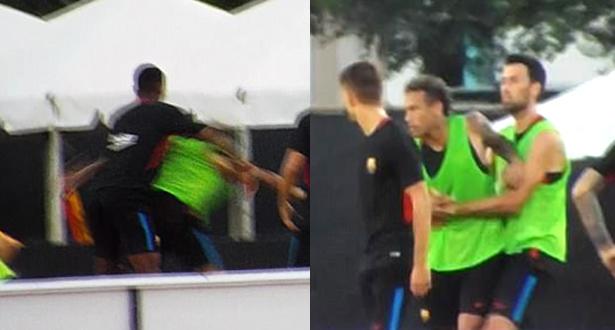 اشتباك بين نيمار وزميله في حصة تدريبية وتدخل اللاعبين يمنع وقوع الأسوأ