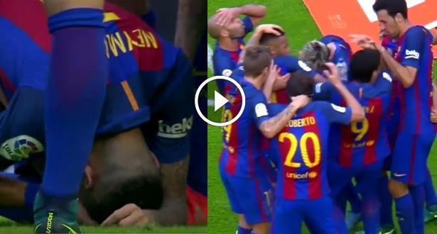 فيديو .. جماهير فالنسيا ترمي لاعبي برشلونة بقنينات ماء ونيمار يسقط أرضا