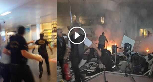 فيديو .. حالة الهلع في مطار إسطنبول بعد الهجوم الذي نفذه انتحاريان