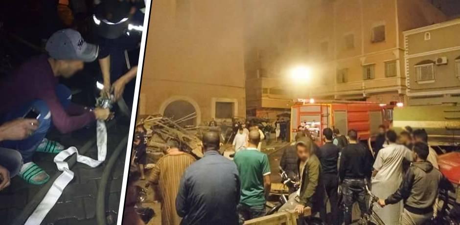 هوارة.. حريق مهول يأتي على سوق للمتلاشيات