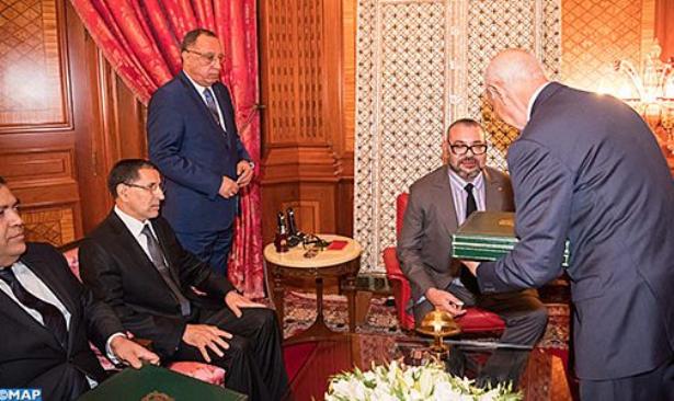 Le Roi reçoit le chef du gouvernement, le ministre de l'Intérieur et le 1er président de la cour des comptes en présence du conseiller du Roi El Himma