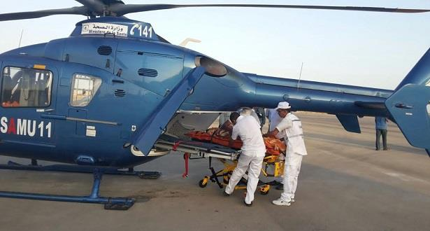 نقل شخص مصاب برضوض وكسور في الرأس من الرشيدية إلى مراكش بواسطة المروحية الطبية