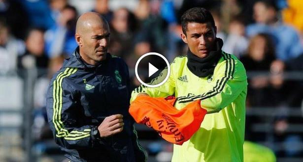 فيديو .. رونالدو بمهارته يفشل في مراوغة زيدان بدهائه