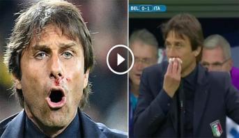 فيديو .. إصابة مدرب إيطاليا أثناء احتفال هستيري بهدف في مرمى بلجيكا