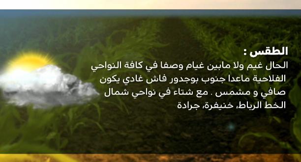طقس الفلاح .. الجمعة 15 نونبر 2019