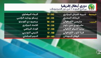 برنامج الجولة الرابعة من دور المجموعات لدوري أبطال إفريقيا