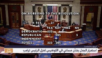 استمرار الجدل بشأن مساعي في الكونغرس لعزل الرئيس ترامب