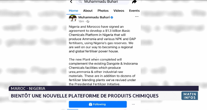 Maroc-Nigeria: bientôt une nouvelle plateforme de produits chimiques