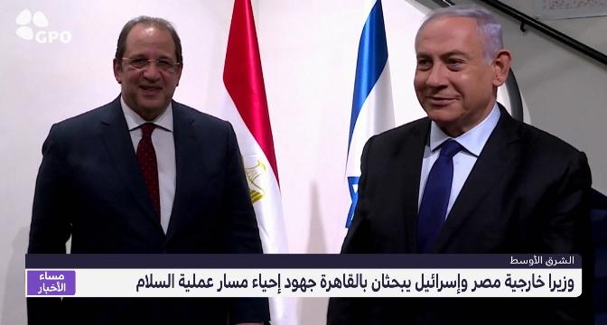 وزيرا خارجية مصر وإسرائيل يبحثان بالقاهرة جهود إحياء مسار عملية السلام