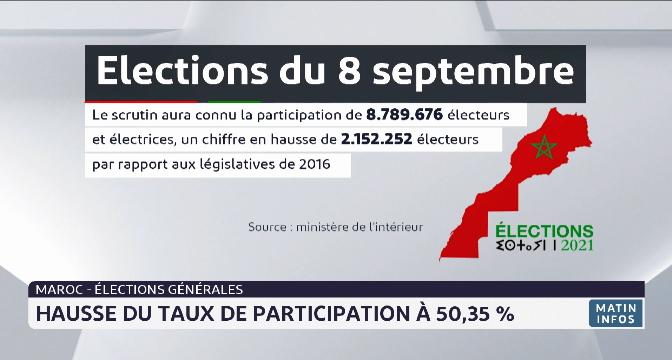 Elections générales: hausse du taux de participation à 50,35%