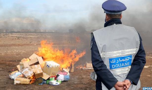 Destruction à Casablanca d'une quantité de drogue et de produits de contrebande
