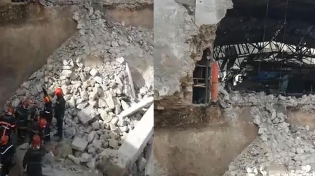 انهيار سور يتسبب في محاصرة عاملين تحت الأنقاض بالدار البيضاء