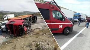 انقلاب شاحنة في الطريق السيار بطنجة يوقف حركة السير