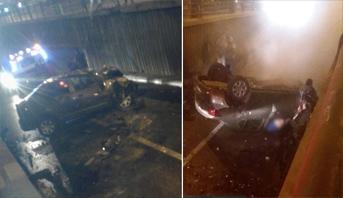 حادث انقلاب سيارة من أعلى قنطرة بالدار البيضاء