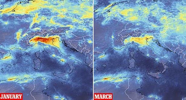 تراجع كبير في مستويات التلوث الجوي في إيطاليا وأوروبا بعد تفشي كورونا