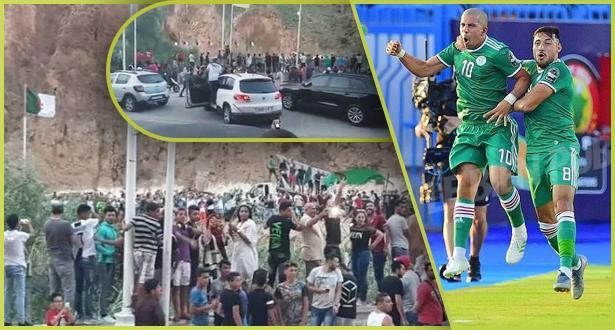 """الحدود المغربية الجزائرية .. فرحة بتأهل """"الخضر"""""""