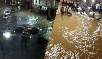 فيديو .. أمطار غزيرة تتسبب في سيول جارفة وفيضانات بالجزائر