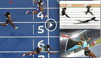 """فيديو وصور .. عداءة """"طائرة"""" في نهاية مثيرة بسباق 400 متر"""